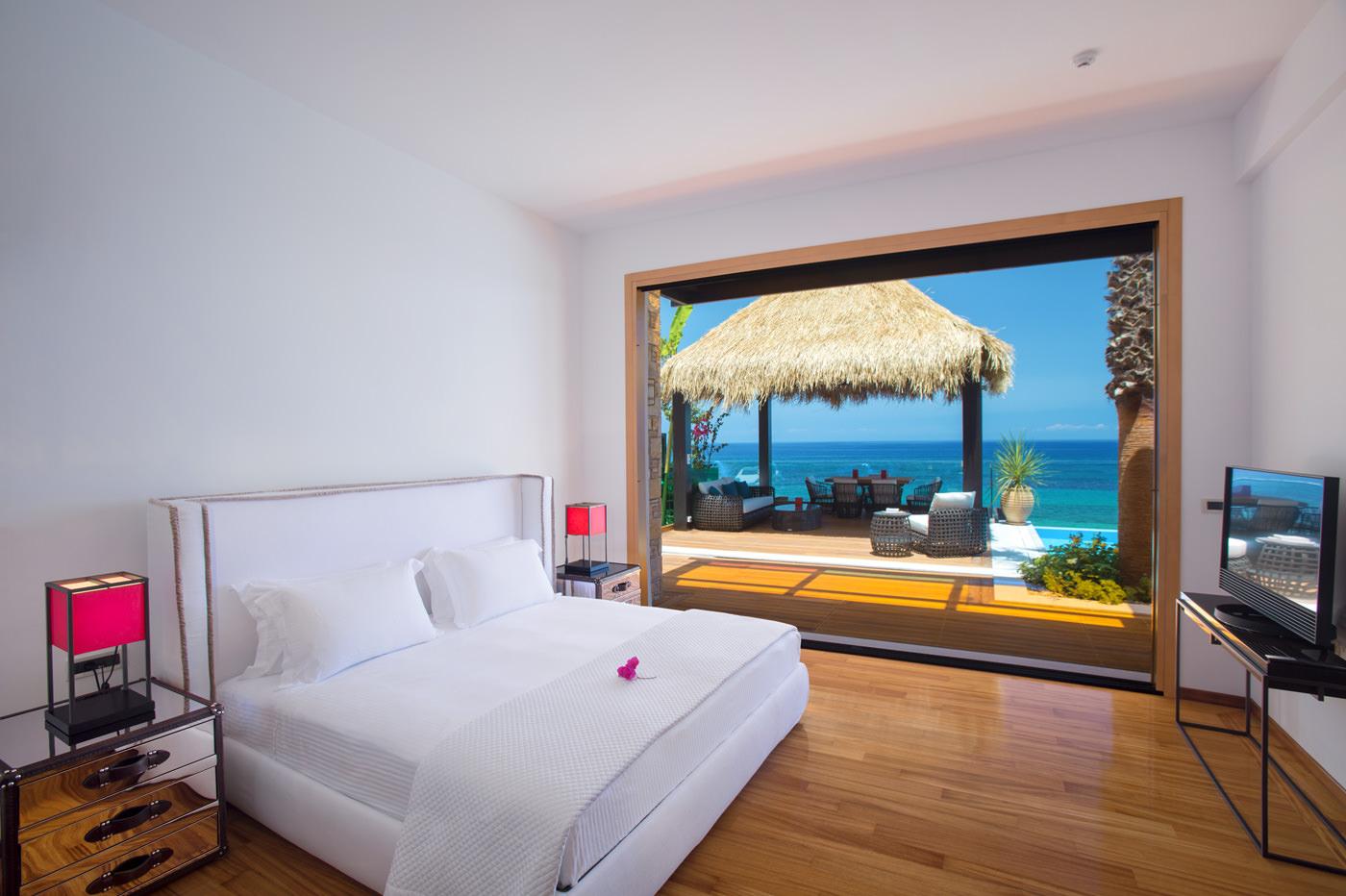Best Luxury Sea View Royal Infinity Villa Ionian Islands Zakynthos Greece King Size Bedroom