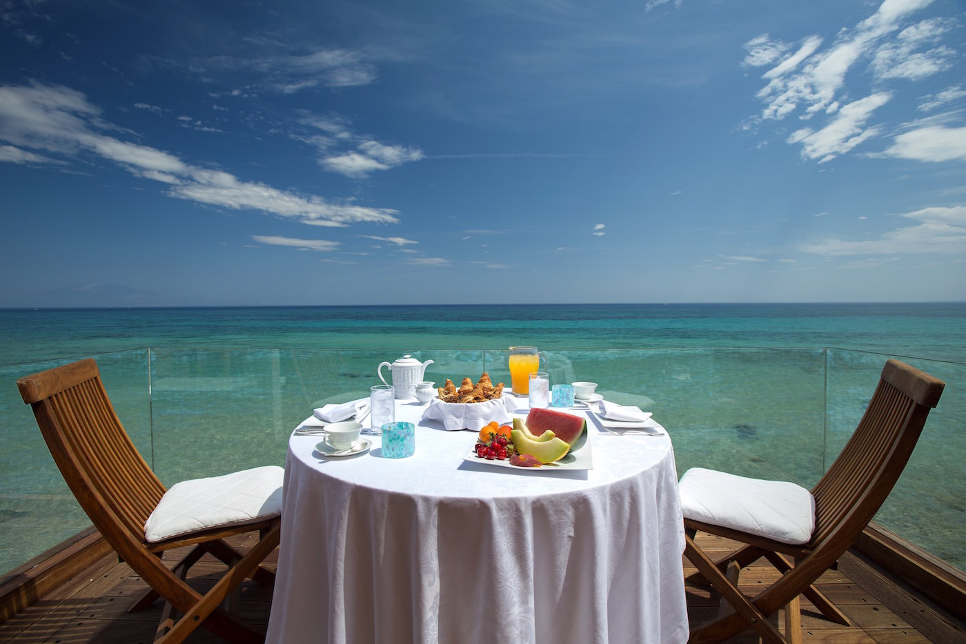Porto Zante Greek Luxury Villas Breakfast view beachfront above the sea