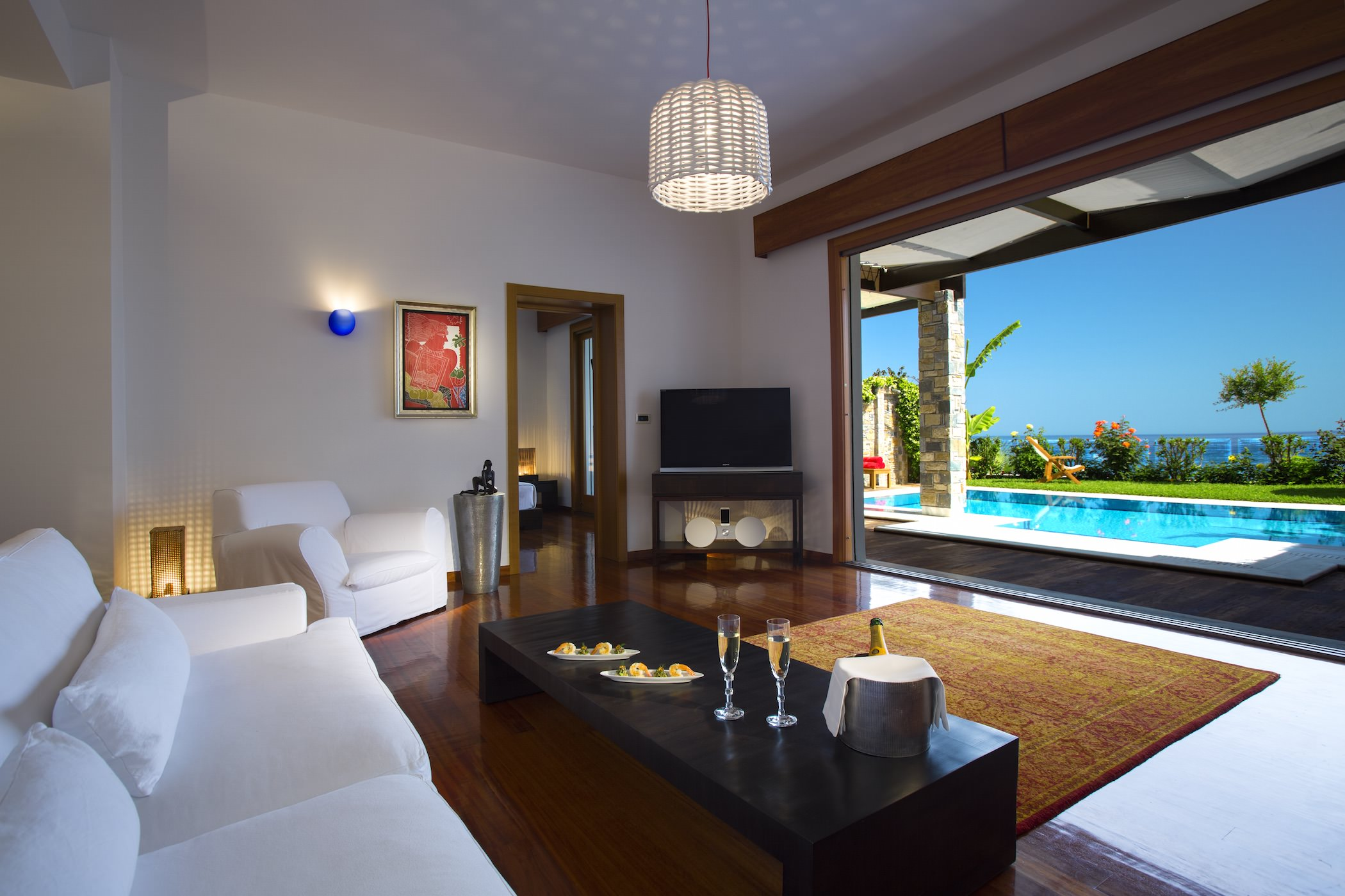 Luxury Livingroom Private Heated Pool Best Villas Greece